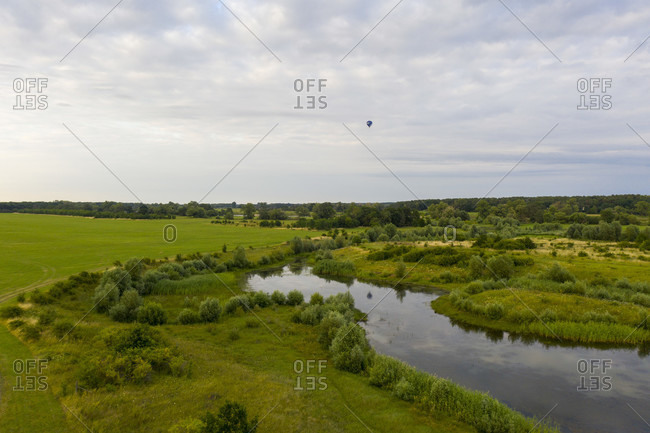 Germany, Saxony-Anhalt, Glindenberg, Weiher an der Elbe, flooded area, aerial view with drone.