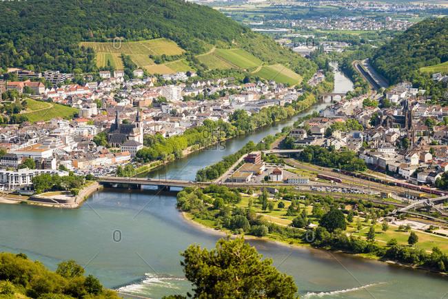 Rossel view of Bingen-Bingerbruck, the mouth of the Nahe and the Drusus Bridge, Rhein-Nahe-Eck