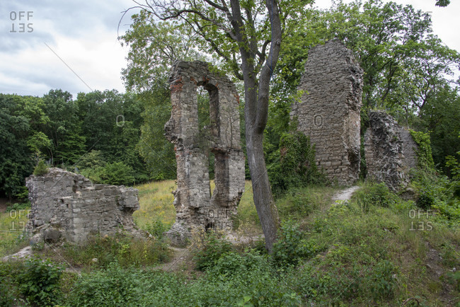 Germany, Saxony-Anhalt, Stecklenberg, medieval castle ruin Stecklenburg in the Harz Mountains.