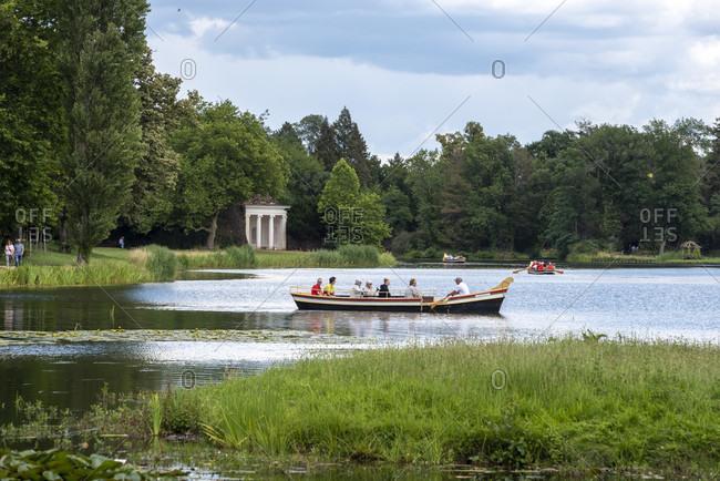 July 11, 2020: Germany, Saxony-Anhalt, Worlitz, gondola with tourists, Unesco World Heritage.
