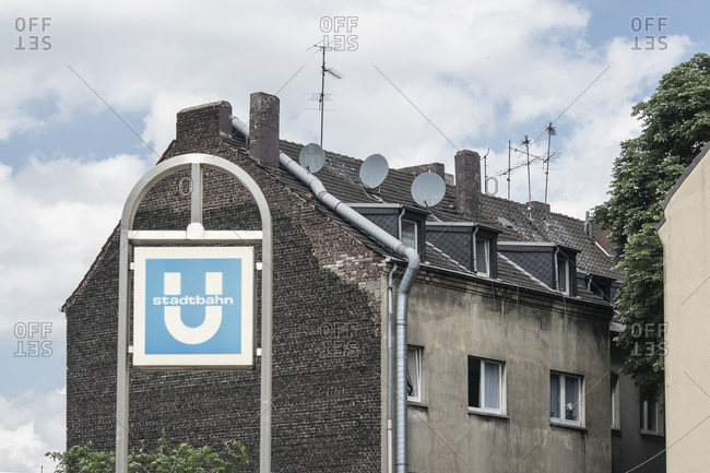 "June 11, 2020: Duisburg-Meiderich, underground station ""Auf dem Damm"", neglected old building"