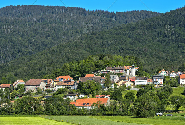 The municipality of Montricher at the foot of Mont Tendre in the Vaud Jura, Vaud, Switzerland