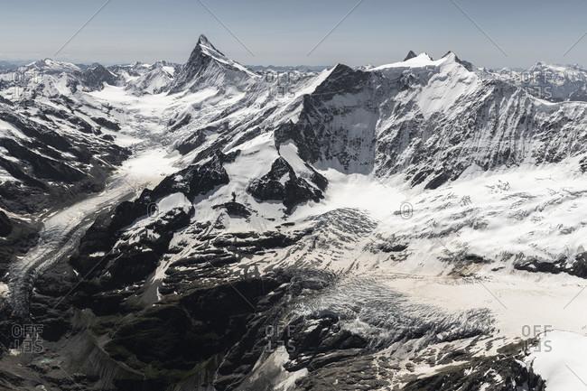 Switzerland, Canton of Bern, Bernese Oberland, Bernese Alps, Finsteraarhorn, Fiescherhorner