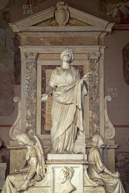 June 17, 2018: Camposanto Monumentale, sculpture, Piazza Dei Miracoli, Pisa, Tuscany, Italy
