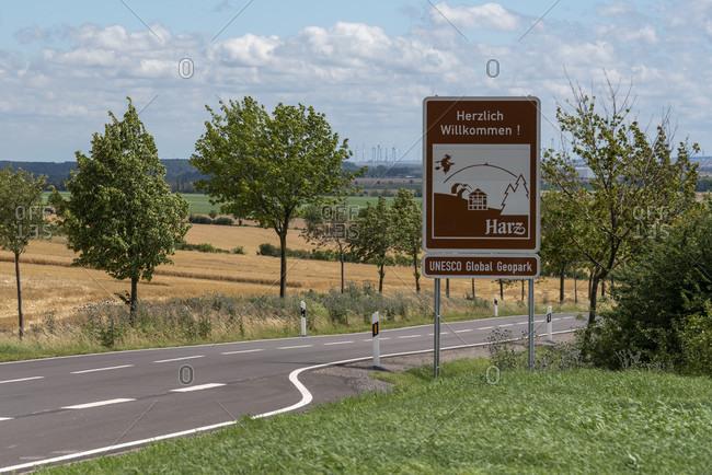 July 5, 2020: Germany, Saxony-Anhalt, Hedersleben, start of the UNESCO Global Geopark Harz.