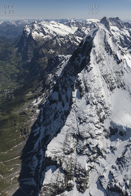 Switzerland, Canton of Bern, Bernese Oberland, Bernese Alps, Eiger north face from above