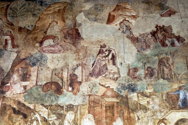 June 17, 2018: Camposanto Monumentale, fresco, Piazza Dei Miracoli, Pisa, Tuscany, Italy