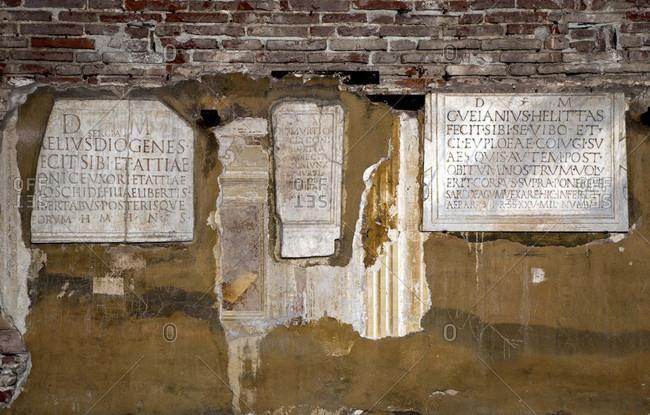 June 17, 2018: Camposanto Monumentale, tombs, Piazza Dei Miracoli, Pisa, Tuscany, Italy