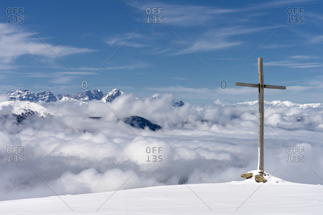 Percha, Bolzano province, South Tyrol, Italy. View from the Hochnall to the Dolomites