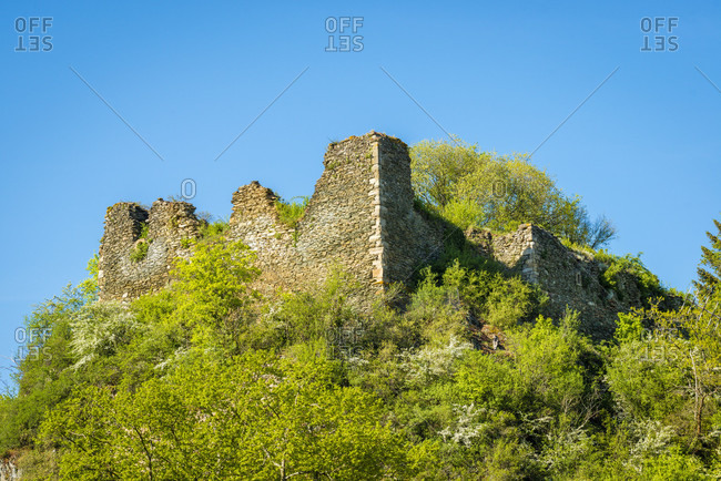 Rosenburg Ruin in Argenschwang, in the Soonwald (Hunsruck) in the Grafenbachtal,
