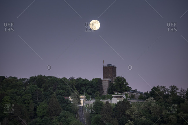 Germany, Baden-Wurttemberg, Karlsruhe, Durlach, the Turmberg with a full moon.