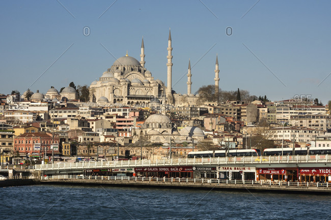 April 10, 2015: Turkey, Istanbul, Bosphorus, Galata Bridge and Suleyman Mosque
