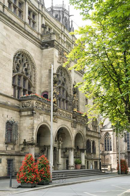 June 11, 2020: Duisburg, Burgplatz, historic old town, town hall, main portal