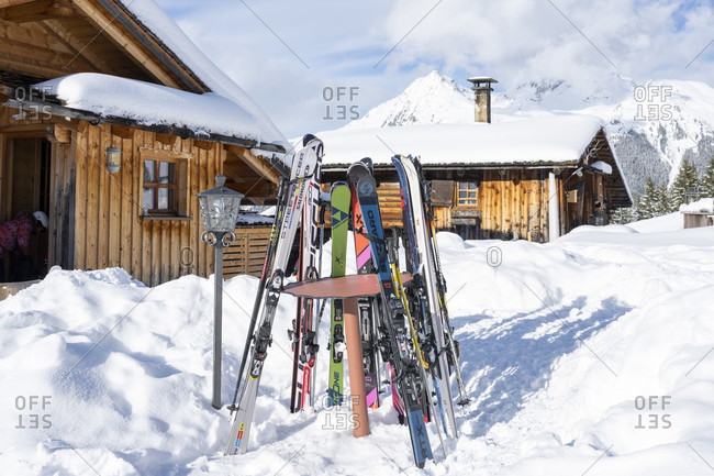 March 4, 2020: Austria, Montafon, Garfrescha, ski huts in car-free Almdorf.