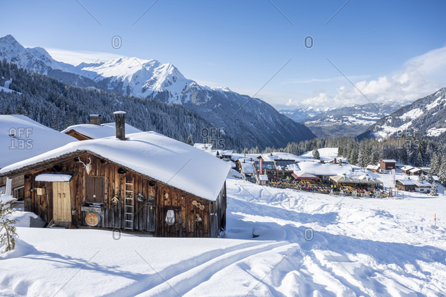 March 4, 2020: Austria, Montafon, Garfrescha, ski huts in car-free Almdorf.