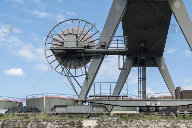 June 11, 2020: Duisburg, outer harbor, Duisburg Bulk Terminal, crane system