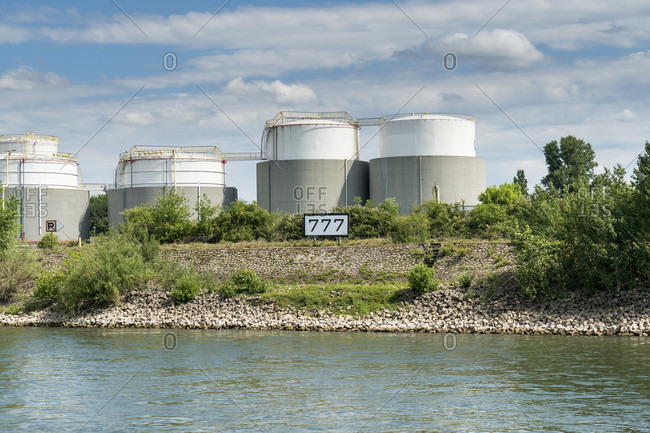 June 11, 2020: Duisburg, outer harbor, oil tank system, Rhine kilometer 777