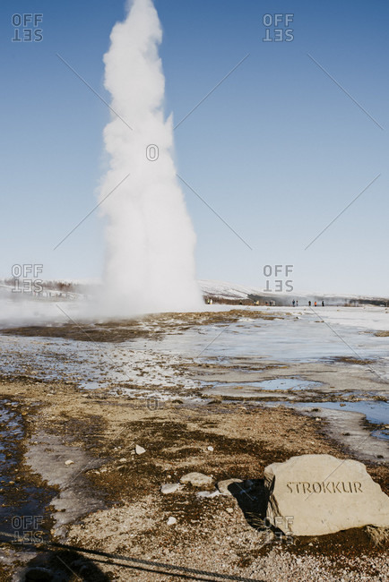 "March 12, 2020: Eruption of the geyser ""Strokkur"" in the Haukadalur valley"