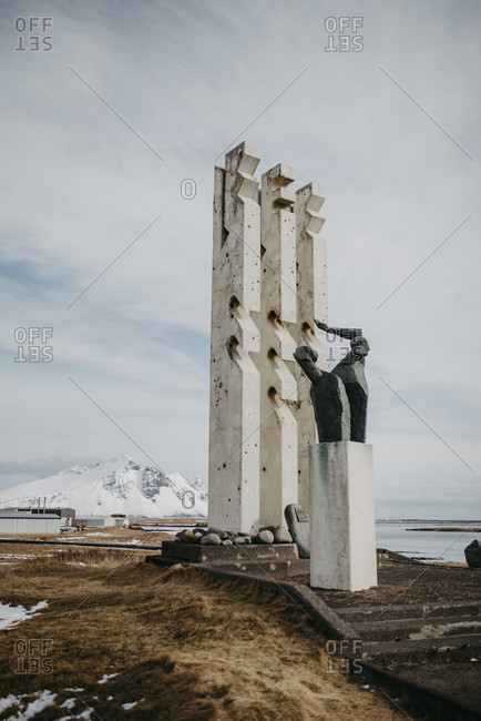 March 15, 2020: Monument to sailors and fishermen, at Hofn harbor, Iceland