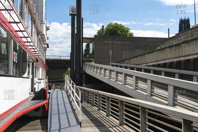 June 11, 2020: Duisburg, inner harbor, swan gate, steamboat landing stage