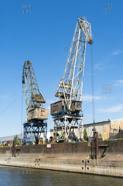June 11, 2020: Duisburg, largest inland port in the world, loading cranes