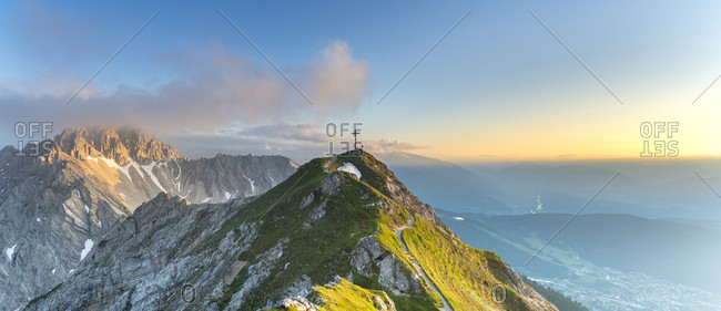View of the Reither Spitze and the Seefelder Spitze in Austria at sunset.