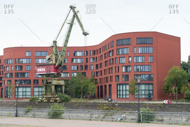 June 11, 2020: Duisburg, inner harbor, harbor promenade, historic crane