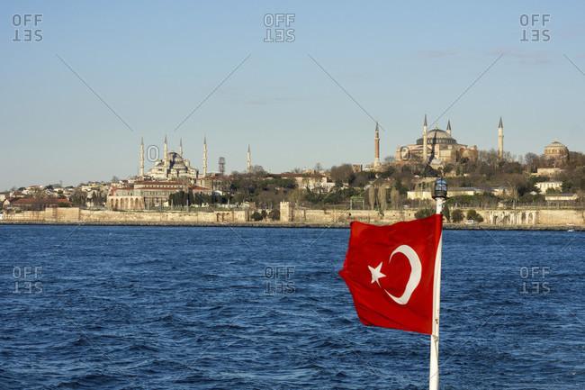 Turkey, Istanbul, Bosphorus, Hagia Sophia and Blue Mosque, Turkish flag