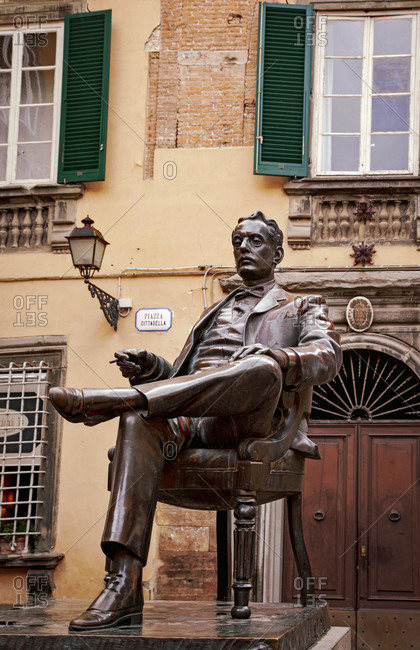 June 15, 2018: Monument, Giacomo Puccini, house, Lucca, Tuscany, Italy