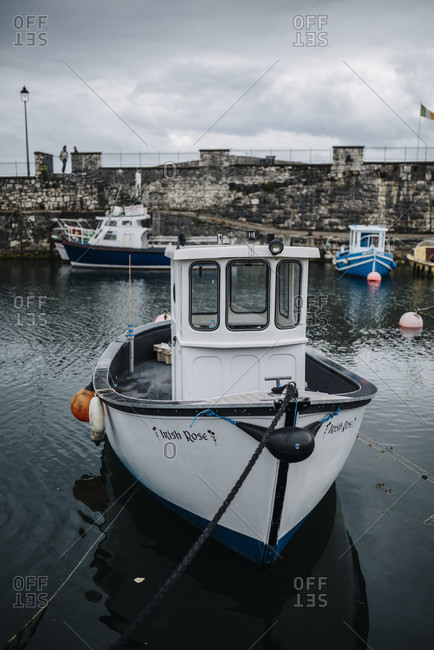 July 17, 2018: Boats are moored in Carnlough Harbour, Northern Ireland