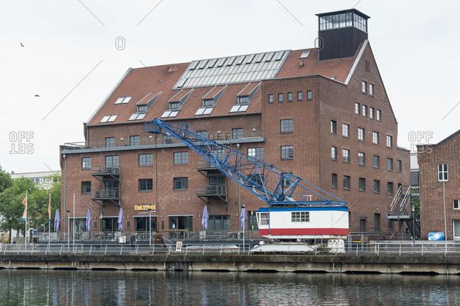 "June 11, 2020: Duisburg, inner harbor, granary, restaurant ""Faktorei"""