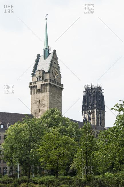 Duisburg, Burgplatz, historic old town, town hall and Salvatorkirche