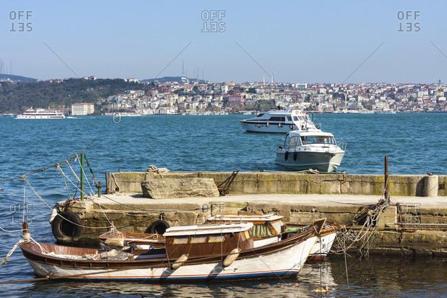 April 11, 2015: Turkey, Istanbul, Bosphorus, Dolmabahce, boat launch