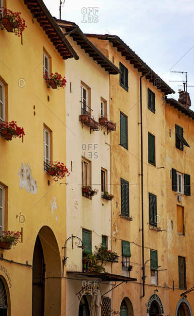June 15, 2018: House, Piazza dell 'Anfiteatro, Lucca, Tuscany, Italy