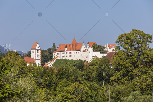 View of St. Mang Abbey and Hohes Schloss, Fuessen, Bavaria, Germany