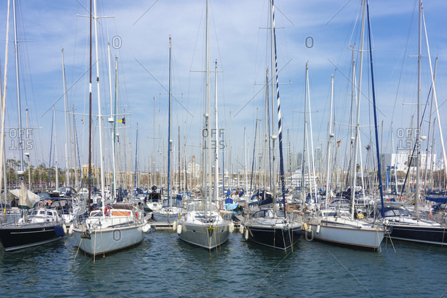 March 31, 2016: Barcelona, Olympic port, marina with sailing ships
