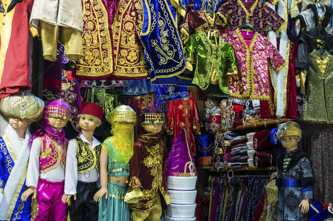 April 10, 2015: Turkey, Istanbul, Grand Bazaar, festival clothing