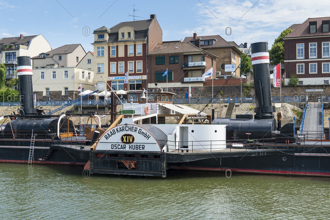 June 11, 2020: Duisburg, museum ship Oscar Huber, paddle steamer