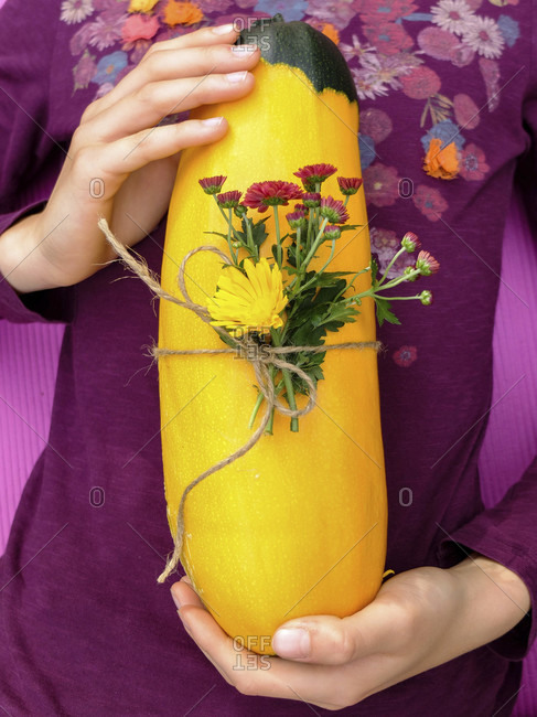 "Two-tone yellow-green zucchini ""Zephyr"", decorative with flowers"