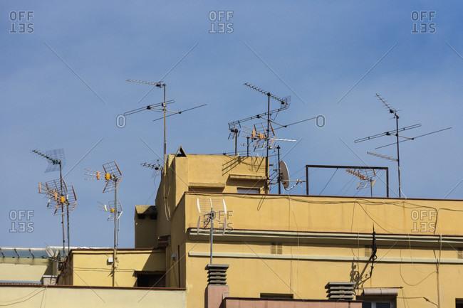 Barcelona, port district, La Barceloneta, house, roof, antennas