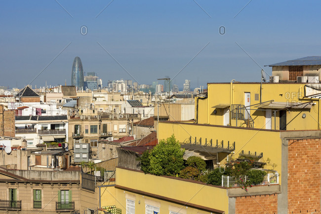 Barcelona, view from Casa Mila (La Pedrera) towards Torre Agbar