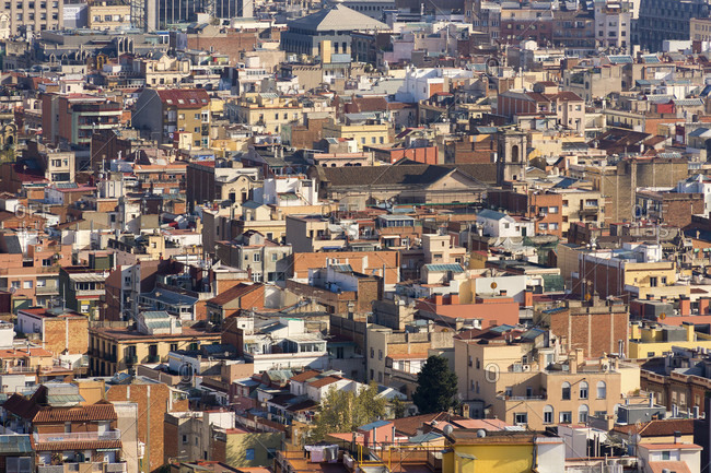 Barcelona, view from Park Guell over the roofs of the old town
