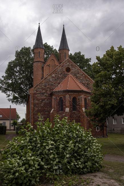 Germany, Saxony-Anhalt, Mahlwinkel, neo-Gothic brick church.