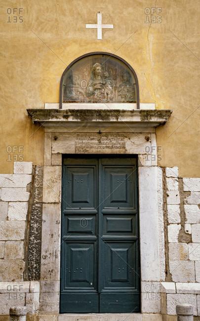 June 15, 2018: Church, chapel, cross, Lucca, Tuscany, Italy