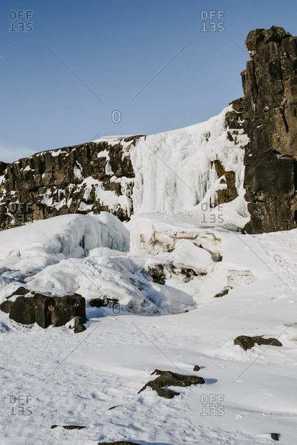 Frozen oxararfoss in Thingvellir National Park, Iceland