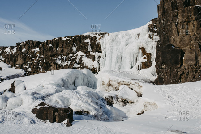 Frozen oxararfoss in Thingvellir National Park, Iceland