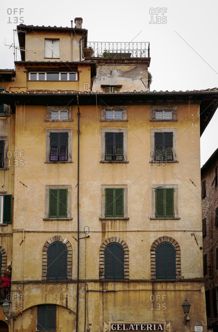 June 15, 2018: House, Gelateria, Lucca, Tuscany, Italy