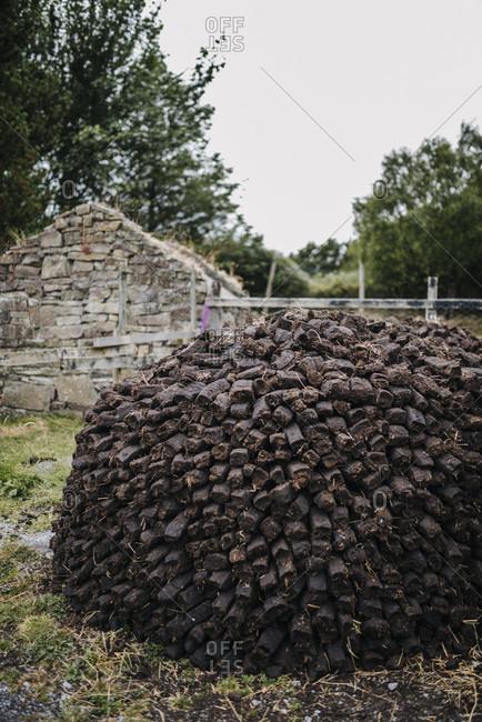 Peat pile, Kerry Bog Village, Open Air Museum, Ireland