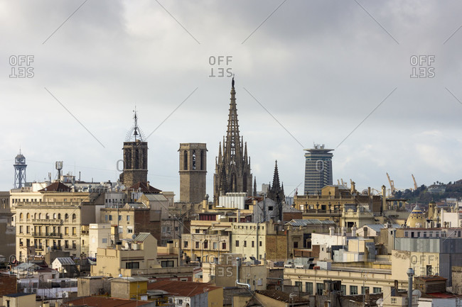 Barcelona, roof terrace, old town view, morning light