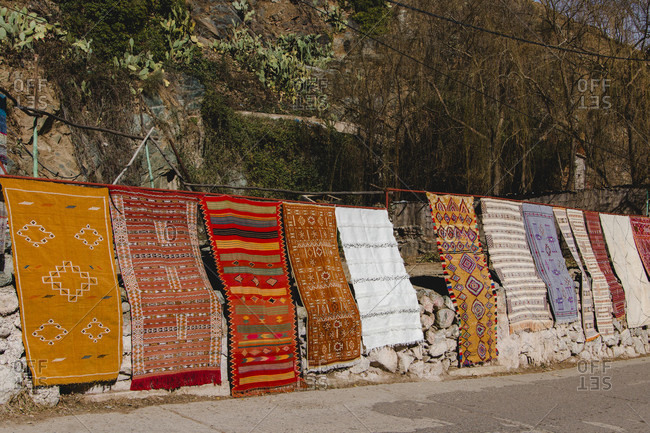 Marrakech Souk Medina Berberware carpet, lamps, poufs